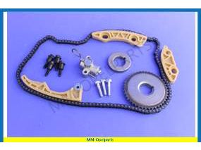 Timing chain set with gears and pulleys